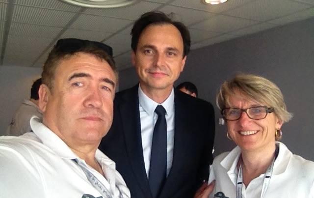 Didier Malga Anne-Valérie Bonnel avec Nicolas Deschaud président de la FFSA